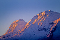 Ice fields on Huascaran at sunset, Andes