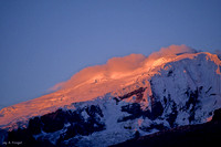 Clouds forming on ice field, sunset, Andes