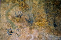 Tulum:  Hand prints on Wall of Structure on top of El Castillo